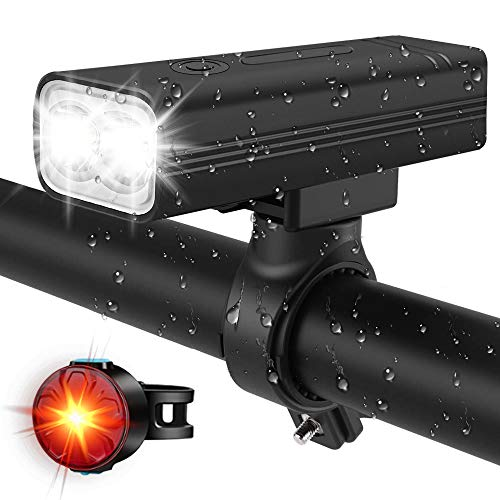 USB Rechargeable Bike Light Set, Super Bright LED Bike Lights Front and Back,5 Light Modes,Flashing with 1000 Lumen Waterproof Safety Alarm for Cycling,Fits All Road Bicycles…