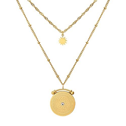KRKC Collar con capas de oro,Collar de cadena de oro de 3 capas,Moneda de capas de collar minimalista,Collar con colgante de perlas pequeñas de Paperclip Curby,