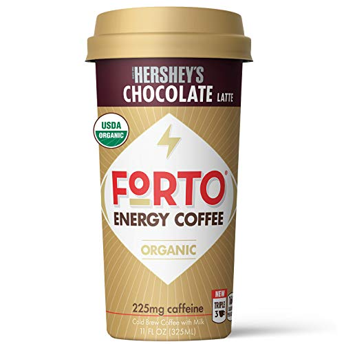 small FORTO energy coffee, chocolate latte, delicious and organic energy, ready to drink, 11 ounces of liquid, …