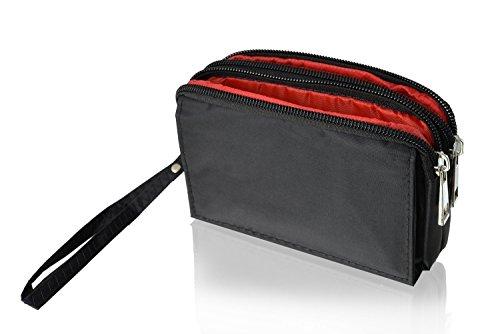 Doppel-Reissverschluss Portemonnaie Handytasche schwarz geeignet für