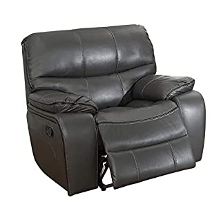 Benjara, Gray Glider Reclining Chair With Gel Match Leather Upholstery (B07JLHXV4F)   Amazon price tracker / tracking, Amazon price history charts, Amazon price watches, Amazon price drop alerts