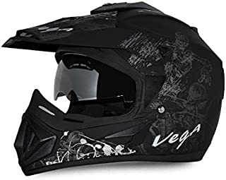 Vega Off Road OR-D/V-SKT-DKS_L Sketch Full Face Graphic Helmet (Dull Black and Silver, L)