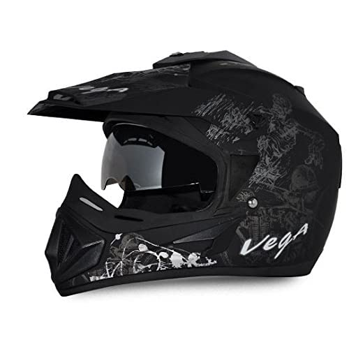 Vega Off Road OR-D/V-SKT-DKS_L Sketch Full Face Graphic Helmet (Dull Black and Silver, L)
