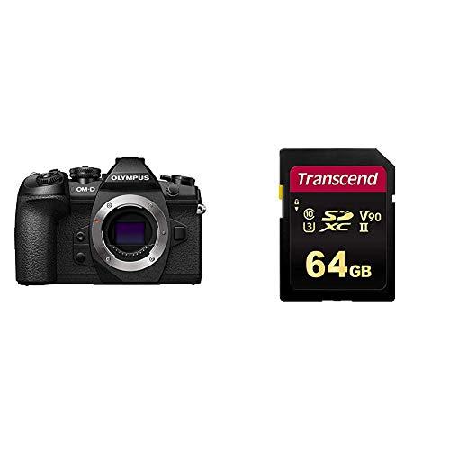 Olympus OM-D E-M1 Mark II, Micro Four Thirds Systemkamera, 20.4 Megapixel, 5-Achsen Bildstabilisator & Transcend 64 GB SDXC/SDHC 700S Speicherkarte/bis zu 285 MBs lesen und 180 MBs schreiben