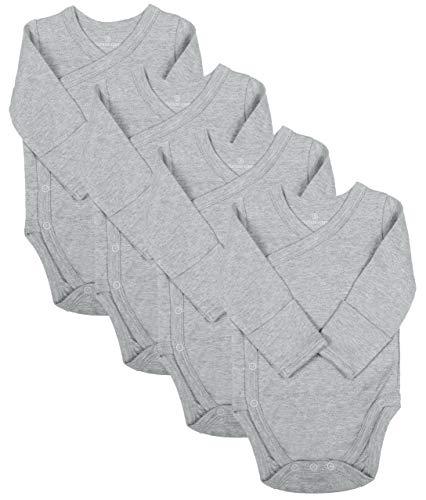 Baby Side Snap Bodysuit Set, Long Sleeve Cotton Boy Girl Kimono Onesie, 4 Pack, Gray, 0-3 Months