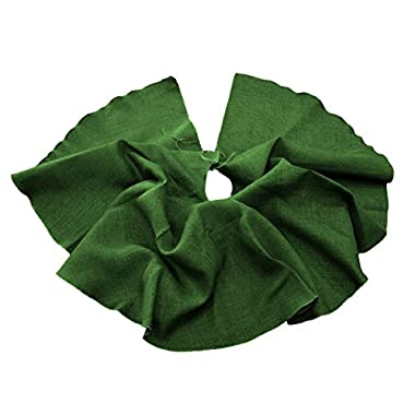 LA Linen Round Burlap Tree Skirt Christmas Tree Decor, 60 , Hunter Green