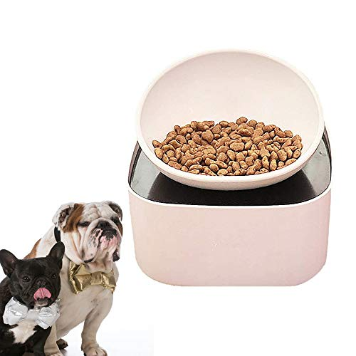 French Bulldog Food Bowl- pet Bowl with Food Storage Containers, Raised Dog&Cat Bowl, Non-Slip, Slanted Dog Cat Bowl, White
