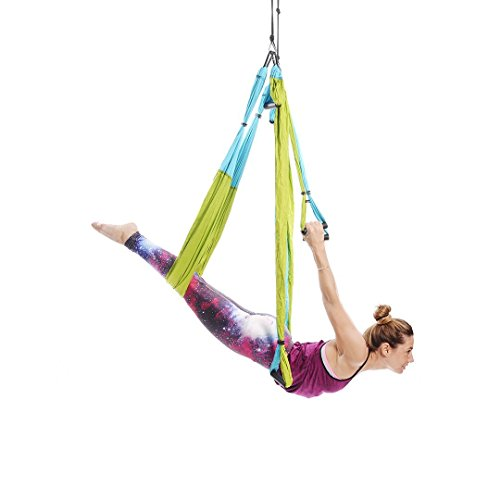 Ranbo Aerial Yoga Trapeze Set Ultra Strong Antigravity Yoga Swing/Hammock Holds Up to 400 Pounds for Inversion Exercises Pilate Fitness Flexibility Core Strength Weight Loss (White)