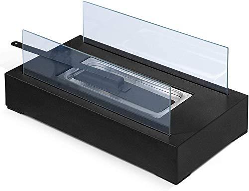 Cheminée de table centrale décorative Cheminée portable, 35 x 18,2 x 14,6 cm, acier inoxydable, 2 panneaux de verre – Cheminée au bioéthanol, au sol, à poser