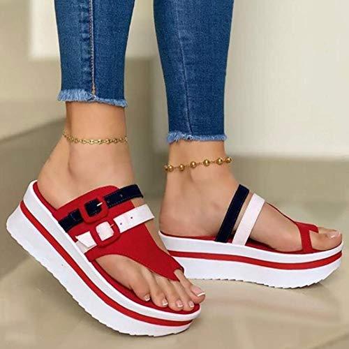 ZRSH Sandalias Mujer Cuña Alpargatas Plataforma Coincidencia de Color Plataforma Impermeable Sandalias Verano Tacon Planas Zapatos Zapatillas,Rojo,40EU