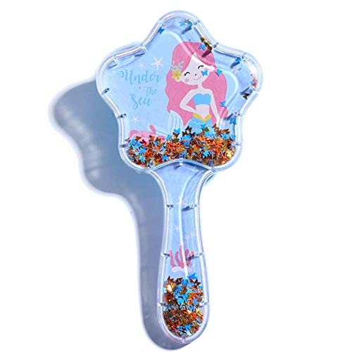 Zou.Rena Girls Kids Hair Brush Comb Little Mermaid Cartoon Pattern PVC Box Packing (Blue)
