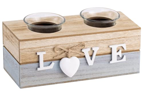 Tealight Candle Holders, Wooden Tealight Holder For Living Room Bathroom Dining Table, Rustic Home Decoration Table Centerpiece Wedding Birthday Party Ornaments, Decor Gift, Set of 2-LOVE