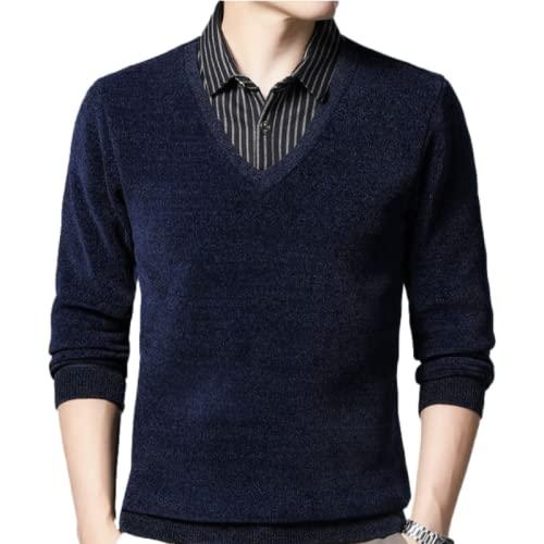Jersey para Hombre, suéter con Cuello en V, Fondo de Negocios, Ocio, Informal, térmico, Fino, Color sólido, tamaño Grande 3XL
