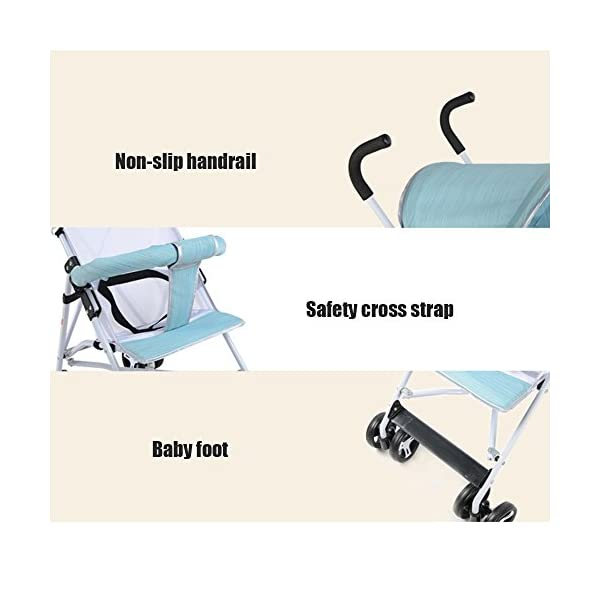 JXCC Travel Systems Baby Stroller Stroller Portable Four-Wheeled Cart Lightweight Folding Umbrella Four Seasons Universal -Safe And Stylish Green2 JXCC ★ Multi-speed adjustment carport, sun protection carport protects baby's delicate skin, awning/front armrests are detachable. ★ Full-angle flexible wheels, flexible steering, easy to implement, and free to control. ★ Bearing strong, rest assured to use. 2