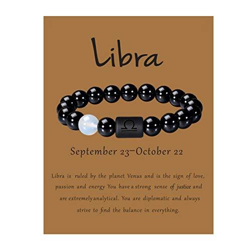 VLINRAS Zodiac Libra Bracelet for Men Women Libra Gifts Natural Black Onyx Stone Zodiac Charm Bracelet Constellation Horoscope Jewelry