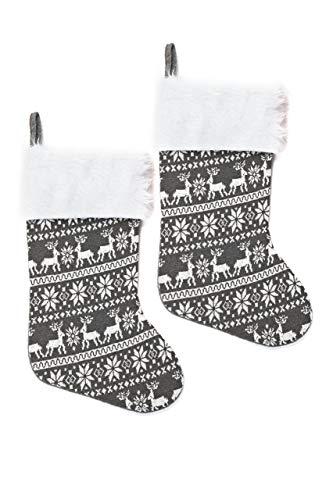 HEITMANN DECO 2er Set Nikolausstiefel zum Befüllen und Aufhängen - Nikolaus-Strumpf - grau/weiß mit weihnachtlichem Muster