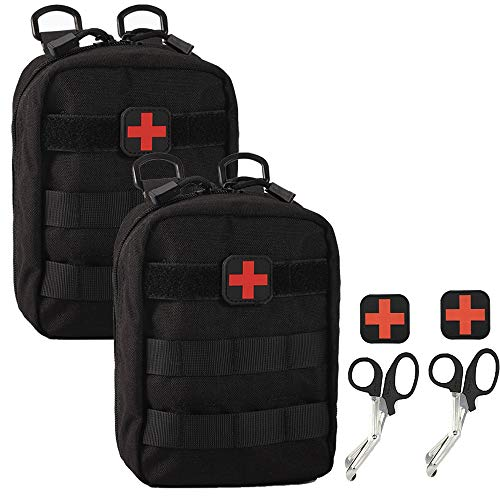 Ydmpro Medical Pouch - 1000D Tactical MOLLE EMT Pouches First Aid IFAK Utility Bag with First Aid Patch and Shear (2 Pack Black)