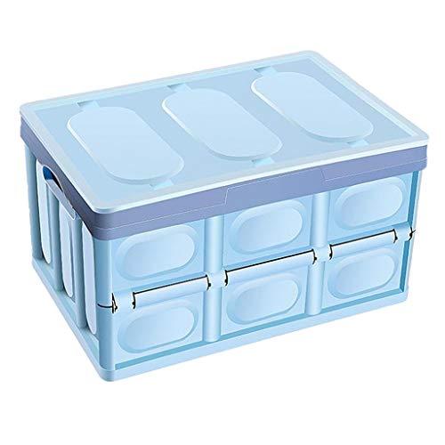 balikha Contenedor de Contenedores de Almacenamiento Plegable Cajas de Almacenamiento de Plástico Contenedor Mango Reforzado - Blue_55L, Individual