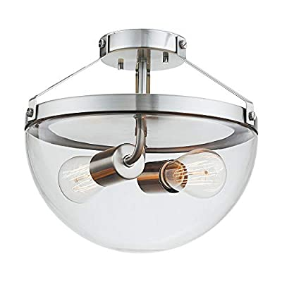 "Globe Electric 60364 Belsize Semi-Flush Mount, 10.5"", Brushed Steel"