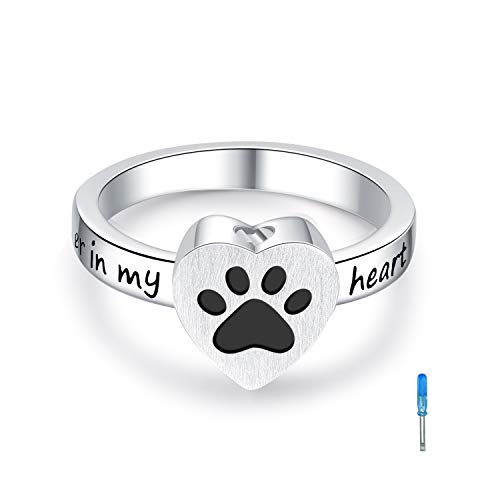 925 Sterling Silver Heart Angel Wings Cremation Urn Ring Hold Loved Ones Ashes Finger Rings Memorial No longer by my side but forever in my heart Jewelry #7 #8 #9 #10 (paw print urn rings, 6)