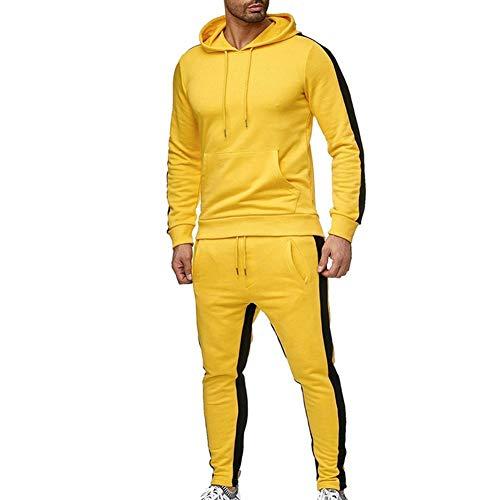 LeerKing Trainingsanzug Polyesteranzug für Herren und Jungen Jogginganzug mit kurzem Fleece Pullover Jogginghose und Reißverschlussjacke mit Kapuze Dicker Gelb L
