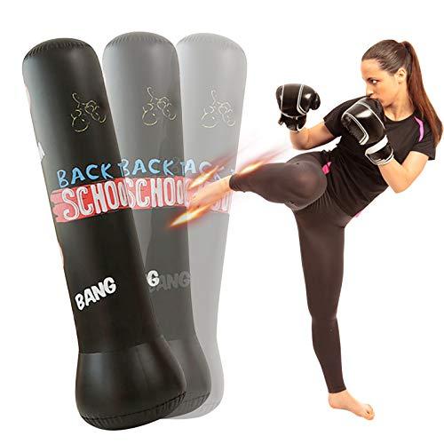 160cm Boxsack Kinder Standboxsack Aufblasbarer Boxsack Stehend Boxen für Erwachsene Kinder Jugenbdliche Fitness Aufblasbare Boxsäule Sandsack für Üben von Karate, Taekwondo Schwarz