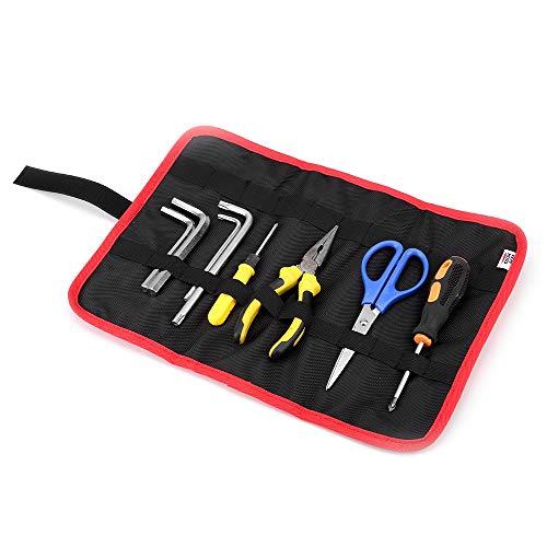 Bolsa de herramientas Oxford con 22 compartimentos para herramientas, bolsa enrollable cierre velcro, almacenamiento alicates, llaves inglesas, destornillador (37,5 × 27 cm), color negro