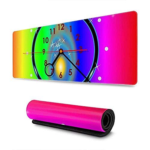 Tappetino per mouse da tavolo con tappetino per mouse lungo allungato con disegno del modello di orologio brillante Antiscivolo