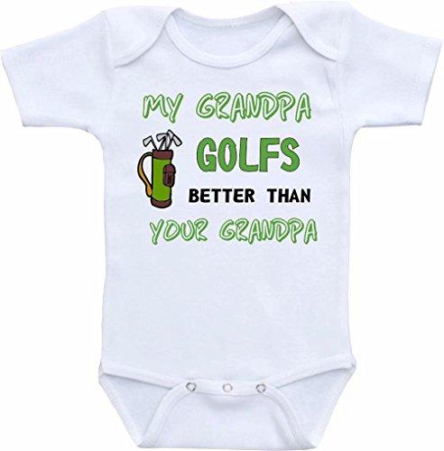 Promini Body pour bébé avec inscription « My Grandpa Golfs Better Than Your Grandpa » - Blanc - 6 mois