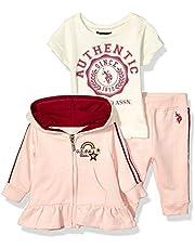 U.S. Polo Assn. Baby Girl's Ruffle Peplum Jacket, T-Shirt, and Jogger Set Pants