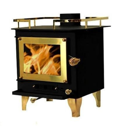 Cubic Grizzly Mini Wood Stove - CB-1210 (Black/Brass)