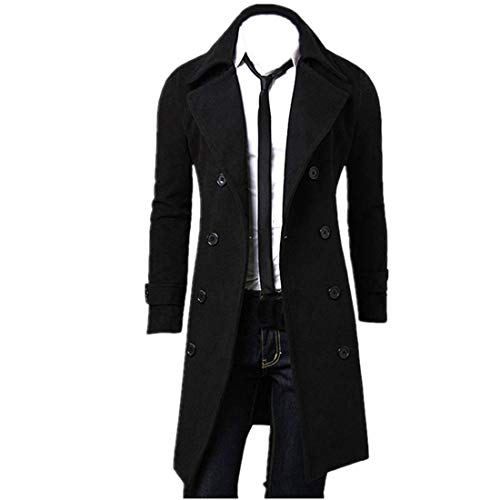 Sumen Winter Mens Trench Coat Stylish Slim Fit Double Breasted Long Jacket (L, Black)