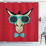 ABAKUHAUS Esel Duschvorhang, Hipster Tier Sonnenbrillen, mit 12 Ringe Set Wasserdicht Stielvoll Modern Farbfest & Schimmel Resistent, 175x240 cm, Mehrfarbig