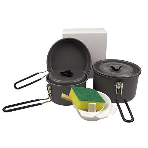 YSCYLY Gourmet Cook Kit,Vouwkookgerei 2-3 Personen Met Serviesgoed, Draagbare Kampvuur Koken Apparatuur