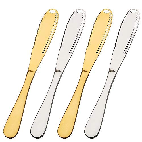Choary 4 pack Multi-function Stainless Steel Butter Knife with a Serrated Edge, Shredding Slots, Butter Spreader Serve Your Butter Breakfast Spreads Cheese and Condiments(gold and silver)