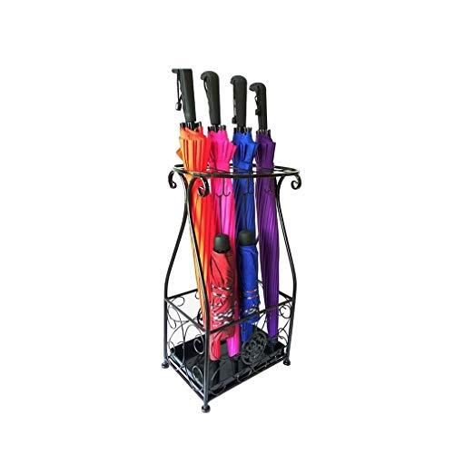 Xiao Jian paraplu, standaard, vintage, paraplu, van metaal, voor binnen en buiten, industriële stijl, lange en korte houder, met afneembare druppels, dienblad en haak zwart.