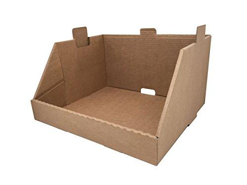 Cajeando | Pack de 10 Cajas de Cartón Expositor Apilable | Tamaño 43,7 x 38,5 x 24,5 cm | Canal Simple y Color Marrón | Almacenaje y Embalaje | Estantería Cocina o Baño | Fabricadas en España