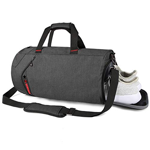 SCIONE Sports Gym Bag for Men Waterproof Travel Duffel Bag for Women with Wet Pocket & Shoes Compartment (Black)