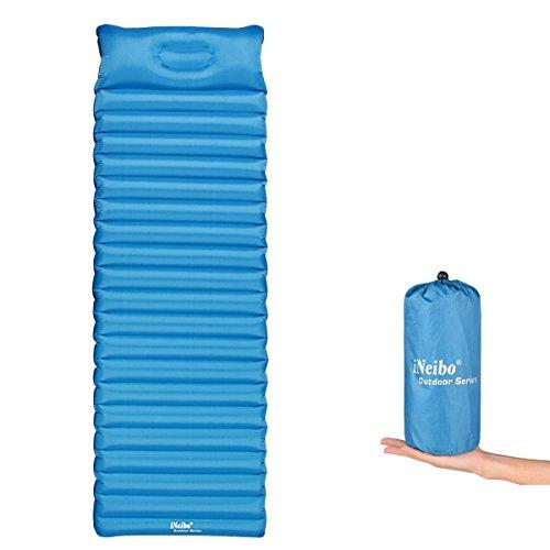iNeibo Camping Luftmatratze Ultraleicht, Outdoor Isomatte mit Integriertem Kissen aus TPU. 186x60x8,5cm Blau