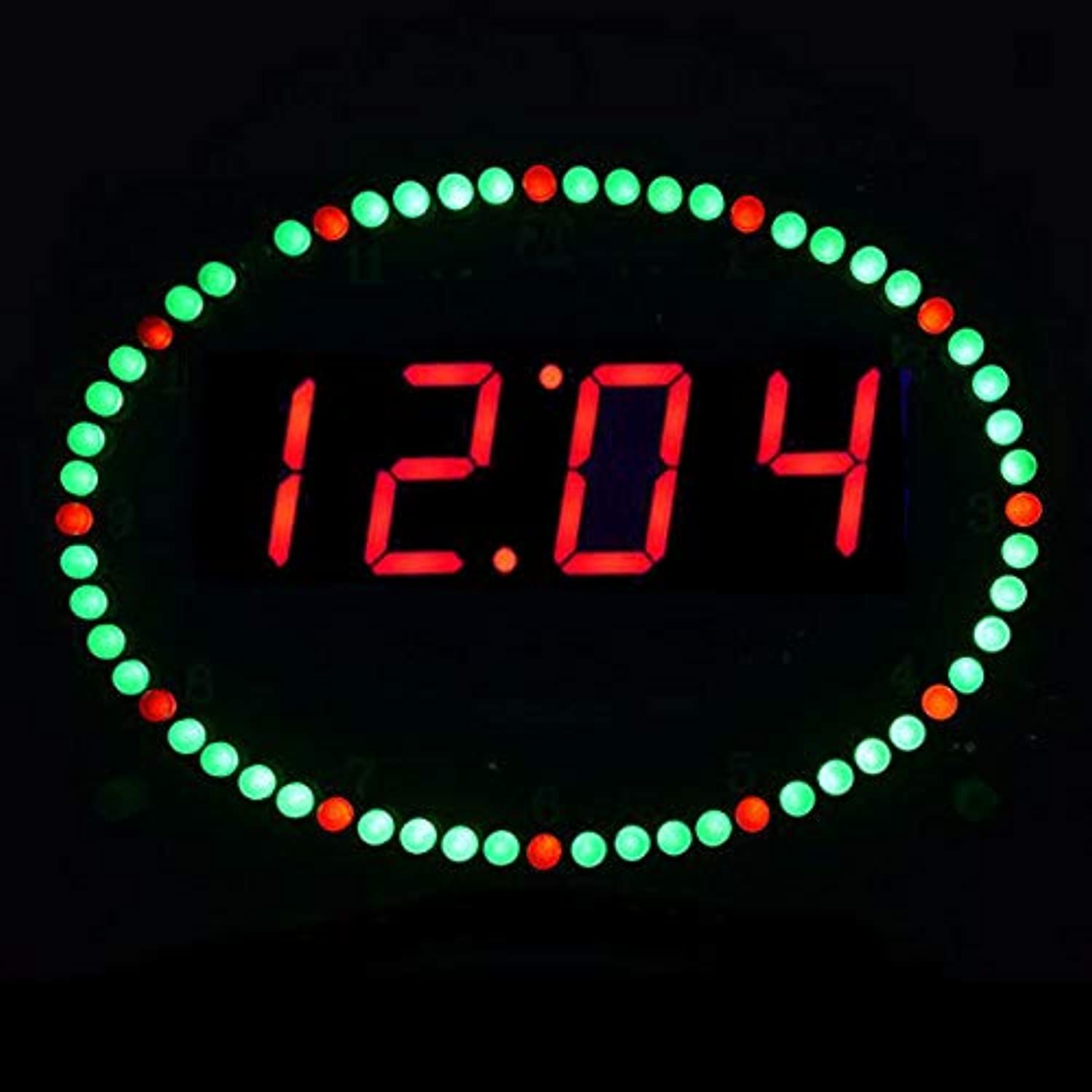 Large Size 1 Inch DS3231 Control redation Oval LED Clock Kit