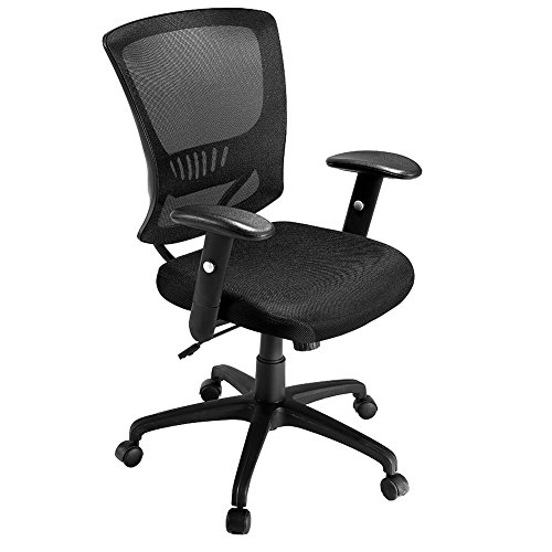 JOBOON Midback Black Mesh Office Chair with Comfortably Padded Seat/Nylon Casters