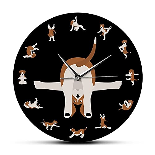 xinxin Reloj de Pared Animales Humor Yoga Perros Impreso Reloj de Pared silencioso Perros en Poses de Yoga Decoración del hogar Cachorro Perro Estilo de Vida Fitness Alegría Reloj de Pared cómico