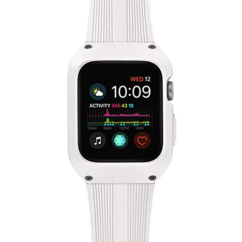 Tasikar Compatible con Correa Apple Watch 42mm con Funda Protectora Resistente Correa de Silicona Compatible con Apple Watch Series 3 Series 2 Series 1 (Blanco Lechoso)