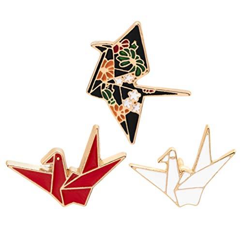 Holibanna 3 Piezas Origami Grúa Broche Pechuga Durable Todo-Fósforo Creativo Papel Grúas Broche Alfileres de Dibujos Animados Aleación Peines Accesorios de Ropa para Fiesta Todos Los Días