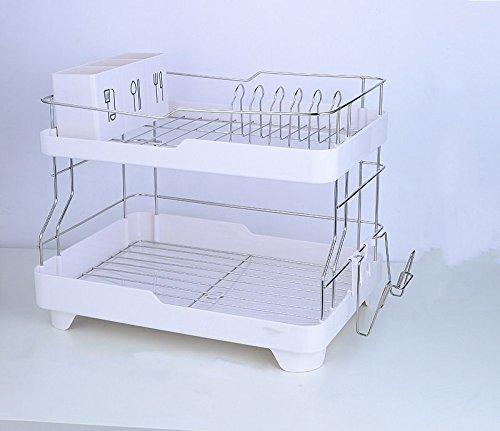 KABSJ Kitchen Storage Tablette de rangement Cuisine multifonction Pan Pot Rack, Drainboard en acier inoxydable Plateau Cuisine multifonctionnelle, taille : 43*32*37cm, blanc