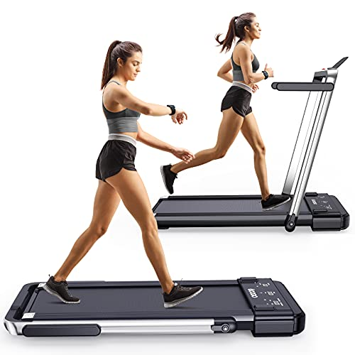 Googo 2 in 1 Folding Treadmill,2.25HP Electric Under Desk Treadmills Walking Machine with Widened Shock Absorption Running Belt,LED Display & Remote Control&Phone Holder,Non-Assembly&Space Saving