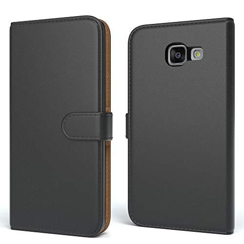EAZY CASE Tasche für Samsung Galaxy A3 (2016) Schutzhülle mit Standfunktion Klapphülle im Bookstyle, Handytasche Handyhülle Flip Cover mit Magnetverschluss & Kartenfach, Kunstleder, Schwarz