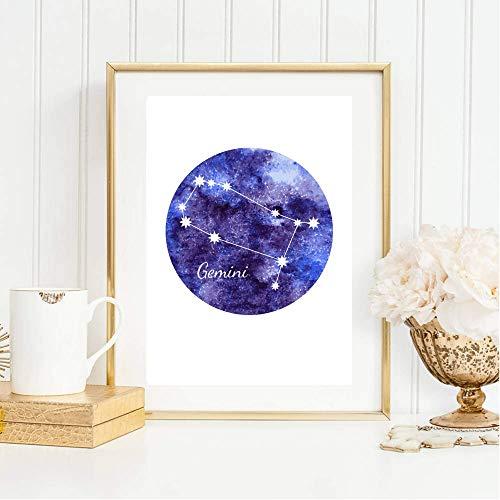 Din A4 Kunstdruck ungerahmt Sternzeichen Horoskop Gemini Zwillinge Astrologie Sterne Sternhimmel Sternbild Druck Poster Deko Bild
