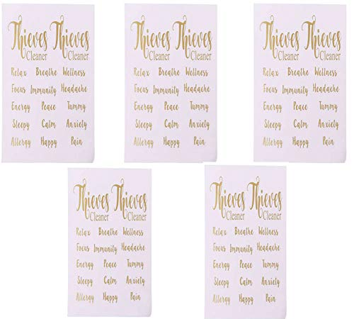 Essential Oil Bottles Labels Stickers,Golden Letter Sticker Essential Oil Bottle Label Sticker Adhesive Labels Decor Decal Tags For Perfume Bottles Sticker Label,5Sheets