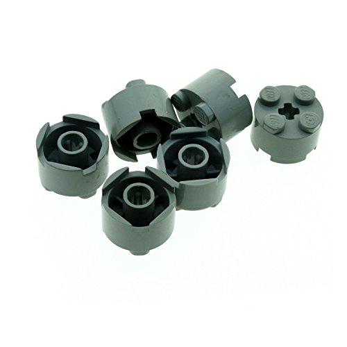 6 x Lego System Rundstein hoch alt-hell grau 2 x 2 mit Achs Loch Baum Stamm Stütze alte Form für Set 1775 6542 10030 4565 497 3941